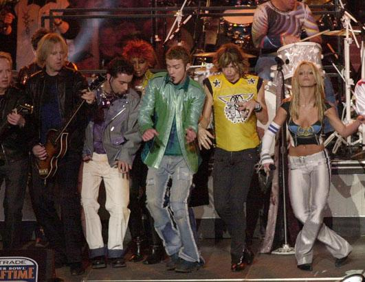 NSYNC, Aerosmith and Britney Spears all perform during halftime at Super Bowl XXXV between the Baltimore Ravens and New York Giants at Raymond James Stadium in Tampa, Florida on Jan. 28, 2001.