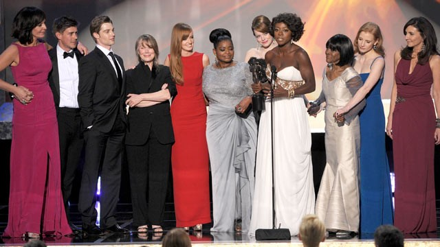 PHOTO: The cast of &quot;The Help&quot; accepts the Outstanding Performance by a Cast in a Motion Picture award, during the 18th Annual Screen Actors Guild Awards at The Shrine Auditorium, Jan. 29, 2012 in Los Angeles, Calif.