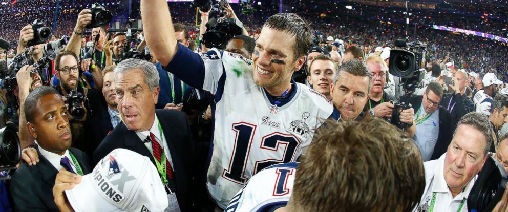 PHOTO: Tom Brady of the New England Patriots celebrates after defeating the Seattle Seahawks 28-24 during Super Bowl XLIX at University of Phoenix Stadium on Feb. 1, 2015 in Glendale, Ariz.