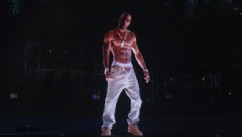 PHOTO: A hologram of deceased rapper Tupac Shakur performs onstage during day 3 of the 2012 Coachella Valley Music & Arts Festival at the Empire Polo Field on April 15, 2012 in Indio, California.