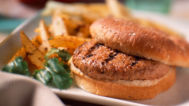 PHOTO: Add green apples, cilantro and onions for a California-inspired turkey burger.