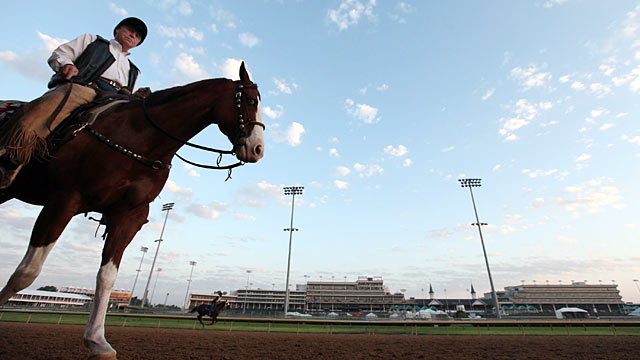 PHOTO: Trainer D. Wayne Lukas watches his horses train in preparation for the 138th Kentucky Derby at Churchill Downs, May 2, 2012 in Louisville, Kentucky.