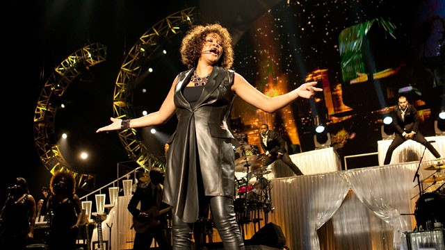 PHOTO: Whitney Houston performs live during her 2010 Nothing But Love tour to promote the album I Look To You in Berlin, Germany.