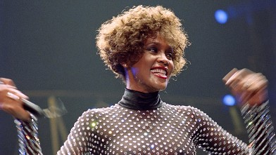 US singer Whitney Houston is shown performing at the POPB (Bercy hall) in Paris, in this file picture taken on October 1, 1991.