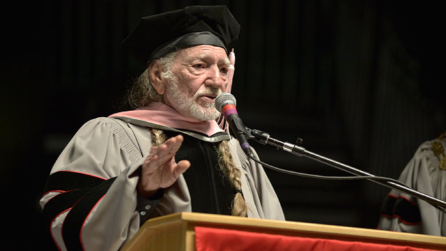 PHOTO: Willie Nelson receives an Honorary Doctor of Music Degree during the 2013 Berklee College Of Music Commencement Ceremony at Berklee College of Music on May 11, 2013 in Boston, Mass.