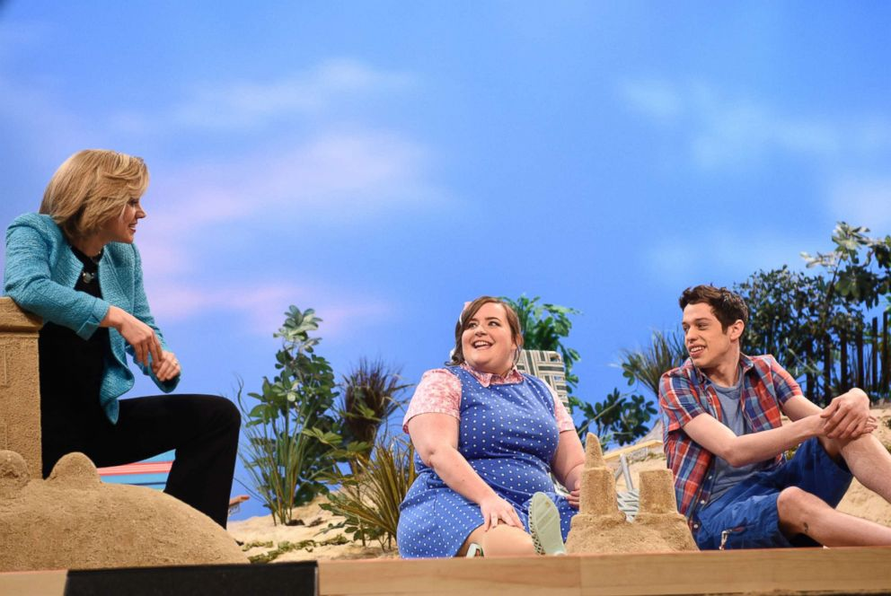 PHOTO: SATURDAY NIGHT LIVE -- Louis C.K. Episode 1683 -- Pictured: (l-r) Kate McKinnon as Hillary Clinton, Aidy Bryant and Pete Davidson during the Summertime Cold Open skit on May 16, 2015