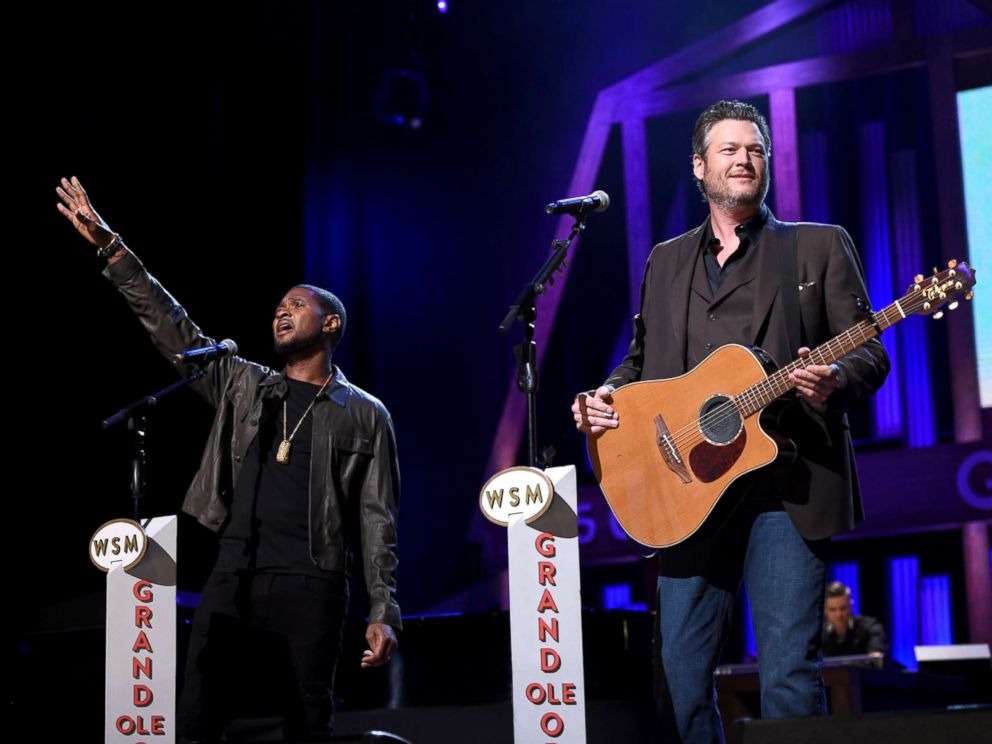PHOTO: Usher and Blake Shelton perform onstage during Hand in Hand: A Benefit for Hurricane Relief at the Grand Ole Opry House on Sept. 12, 2017 in Nashville, Tenn.