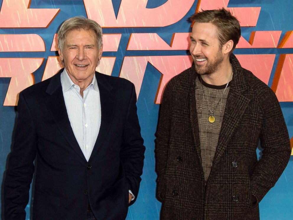 PHOTO: Harrison Ford and Ryan Gosling pose for photographers during the photo call for Blade Runner 2049 in London, Sept. 21, 2017.