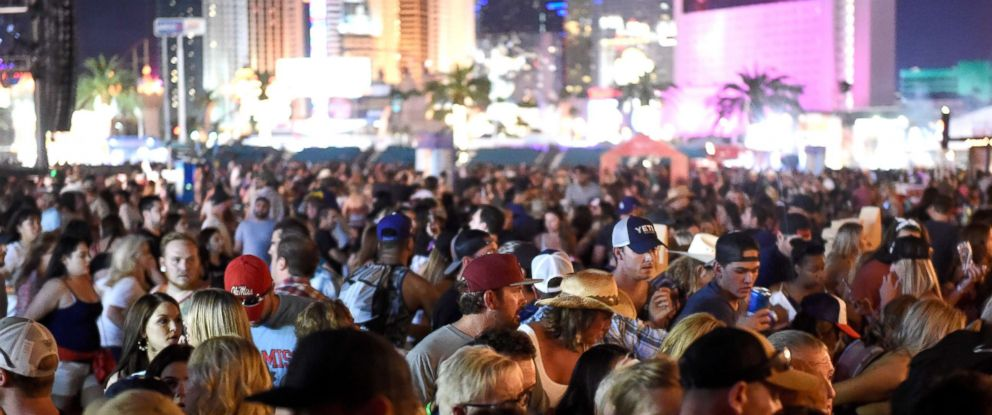 PHOTO: A crowd of people at the Route 91 Harvest country music festival after apparent gun fire was heard, Oct. 1, 2017, in Las Vegas.