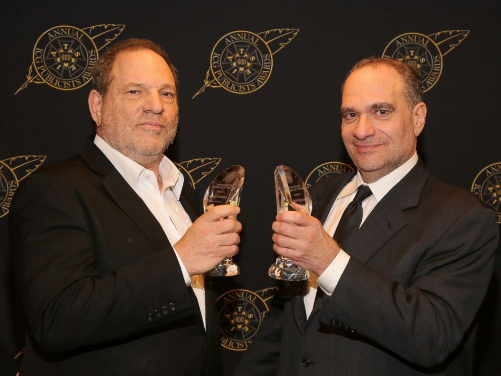 PHOTO: Harvey Weinstein (L) and Bob Weinstein pose with the Motion Picture Showmanship Award backstage at the 52nd Annual ICG Publicists Awards at The Beverly Hilton Hotel, Feb. 20, 2015 in Beverly Hills, Calif.