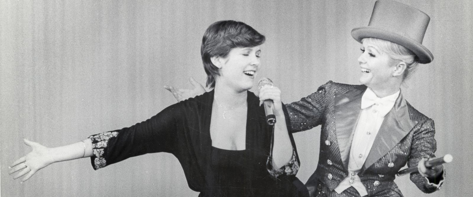 PHOTO: Carrie Fisher and Debbie Reynolds perform in an undated photo from the Fisher family archives.