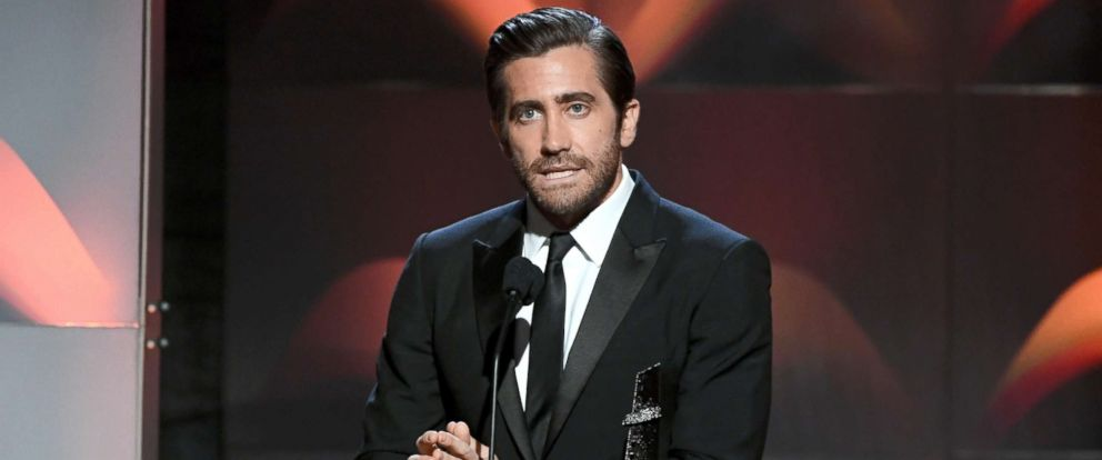 """PHOTO: Jake Gyllenhaal accepts the Hollywood Actor Award for """"Stronger"""" during the 21st Annual Hollywood Film Awards, Nov. 5, 2017, in Beverly Hills, Calif."""