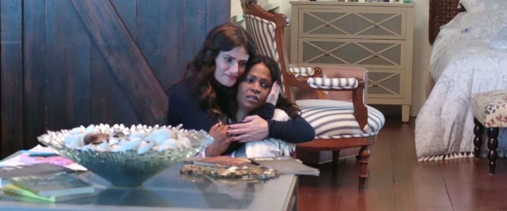 "PHOTO: Idina Menzel and Nia Long appear in this screen grab from Lifetimes ""Beaches"" movie trailer."