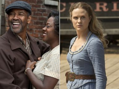 PHOTO: Denzel Washington and Viola Davis in a scene in Fences, 2016. Evan Rachel Wood stars in Westworld, 2016.