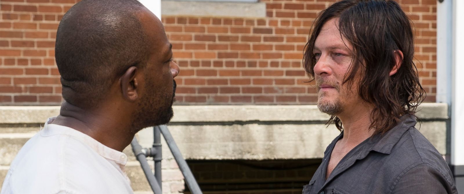 "PHOTO: Lennie James as Morgan Jones, Norman Reedus as Daryl Dixon on ""The Walking Dead,"" in 2017."