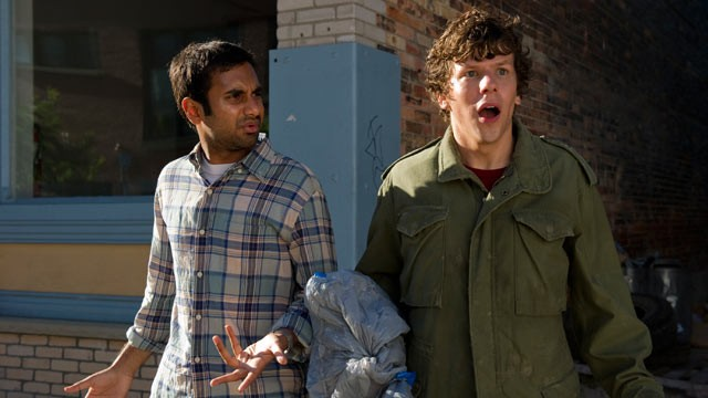 PHOTO:&nbsp;Jesse Eisenberg and Aziz Ansari star in the new movie &quot;30 minutes or Less&quot;.