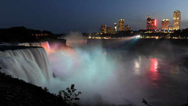 PHOTO: Niagara Falls at night.