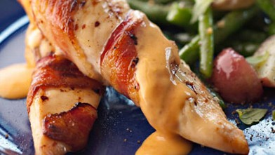 PHOTO: Bacon wrapped chicken is shown here.