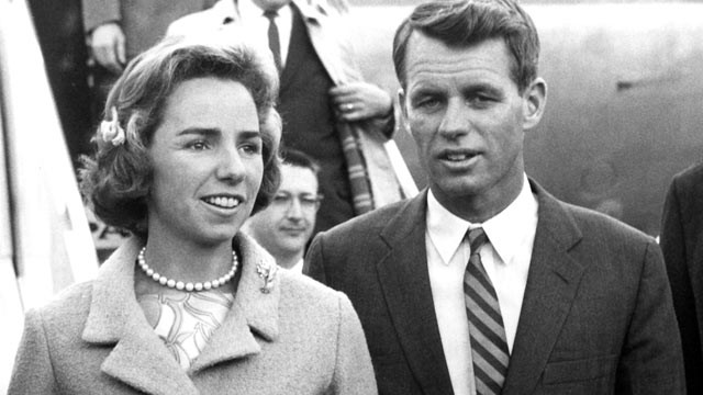 PHOTO: Ethel Kennedy, Attorney General Robert F. Kennedy and United States Ambassador to Italy George Frederick Reinhardt upon the Kennedy's arrival to Italy in February of 1962.