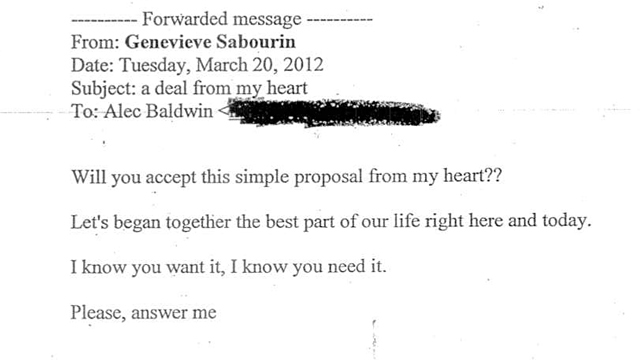 ht Genevieve Sabourin email 24 ll 131112 wmain See the Emails From Alec Baldwins Alleged Stalker