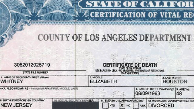 PHOTO: Whitney Houston's official death certificate has been released to the public.