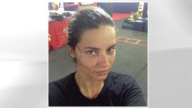 "PHOTO: Adrianna Lima posted this image on her twitter page with caption, ""Just finish workout;),"" Oct. 7, 2012."