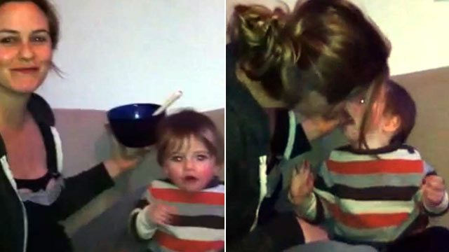 PHOTO: Actress Alicia Silverstone feeds her son Bear by mouth in a Youtube video she posted on her blog.