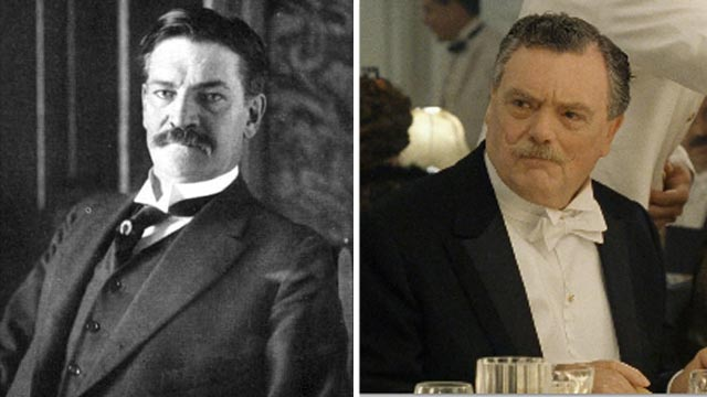 "PHOTO: Archibald Gracie, right, a passenger on the Titanic, is seen in this undated file photo. Bernard Fox is seen in a scene from the movie ""Titanic"" portraying Archibald Gracie."