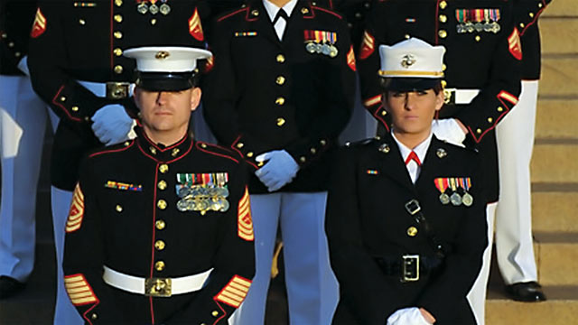"PHOTO: Ariana Klay, US Marine Corps 1st Lieutenant, in Marine dress blues, from the documentary, ""The Invisible War""."