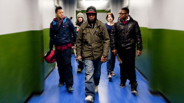 PHOTO: Franz Drameh as Dennis, Alex Esmail as Pest, John Boyega as Moses, Jodie Whittaker as Sam, Leeon Jones as Jerome in Screen Gems' attack the block.
