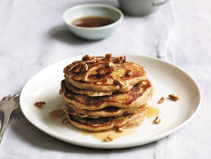 PHOTO: Daphne Ozs banana-pecan buttermilk pancakes are shown here.