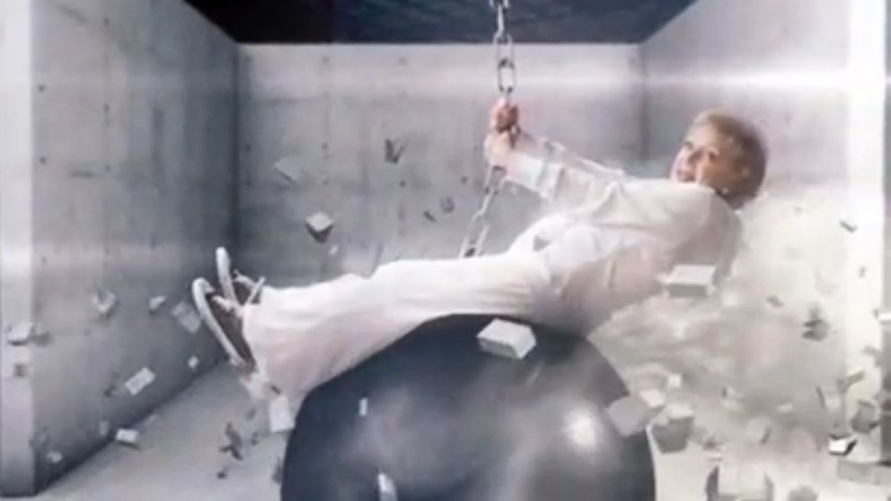 "PHOTO: Betty White spoofs Miley Cyrus wrecking ball video in a TV promo for her show ""Betty Whites Off Their Rockers."""