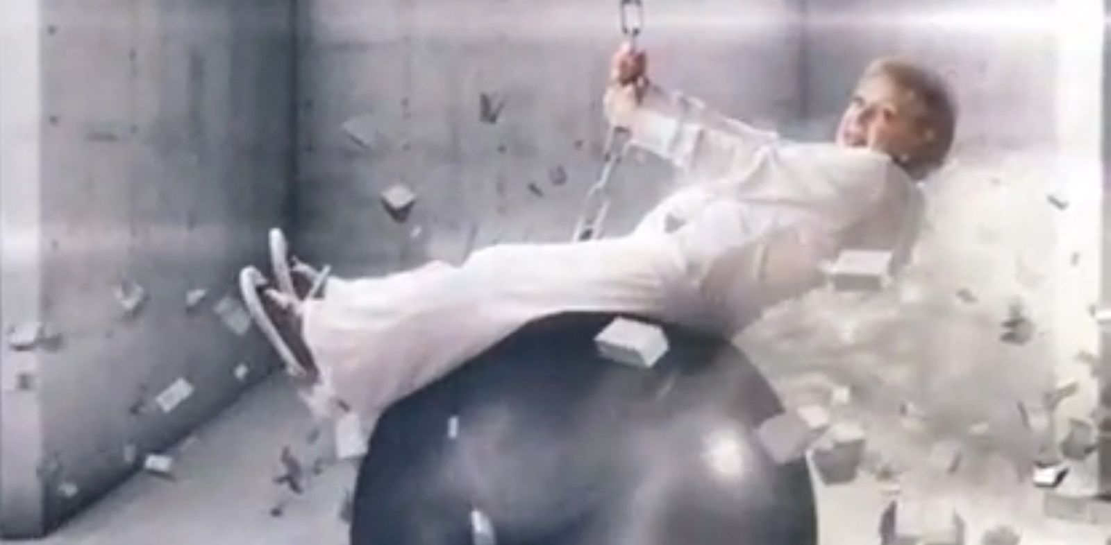 """PHOTO: Betty White spoofs Miley Cyrus wrecking ball video in a TV promo for her show """"Betty Whites Off Their Rockers."""""""
