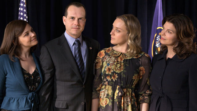 "PHOTO From left, Ginnifer Goodwin, Bill Paxton, Chloe Sevigny, and Jeanne Tripplehorn are shown in a scene from ""Big Love."""