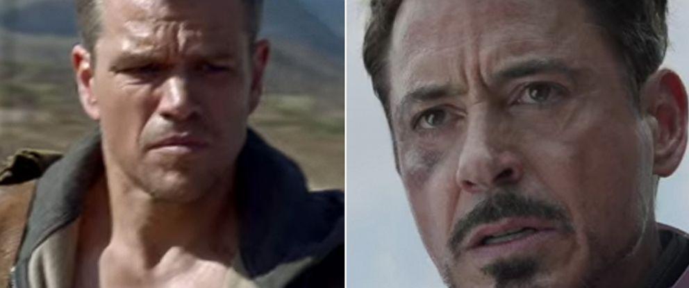 PHOTO: Matt Damon as Jason Bourne in the fifth installment of Bourne series. Robert Downey Jr. as Iron Man in Marvels upcoming Captain America: Civil War.