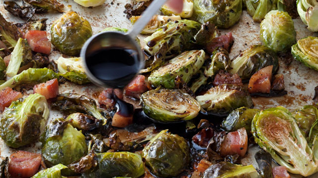 ina gartens balsamic roasted brussels recipe abc news - Ina Garten Baked Bacon