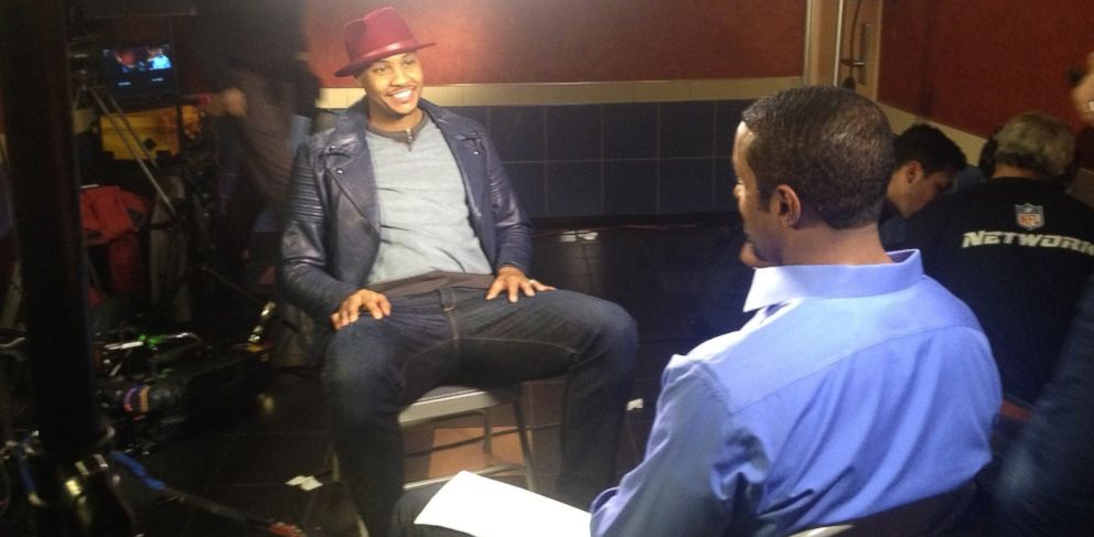 PHOTO: New York Knicks player Carmelo Anthony is interviewed by ABC News Ryan Smith in New York City.