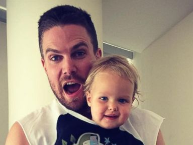 Stephen Amell Poses with His Baby Mavi