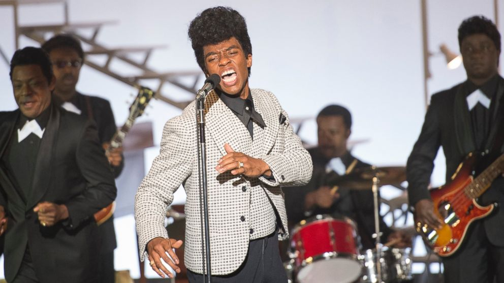 "PHOTO: Chadwick Boseman performs as James Brown in the film ""Get on Up."""