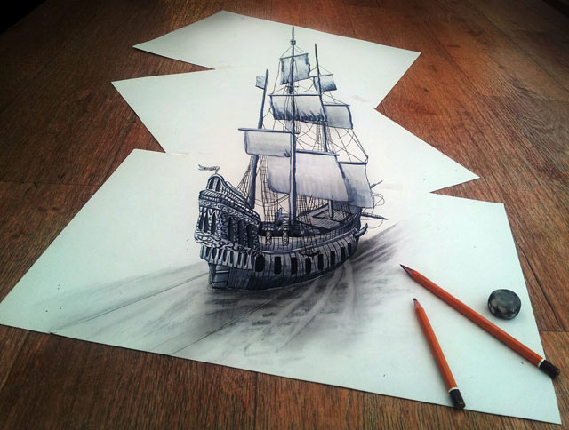 ht clipper ship jef 130620 vblog 3 D Pencil Sketches Leap Off the Page