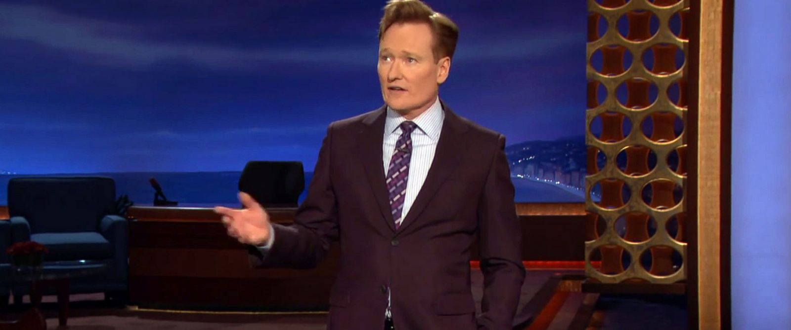PHOTO: Conan OBrien discusses a deadly attack at a satirical newspapers office in Paris, Jan. 7, 2015.