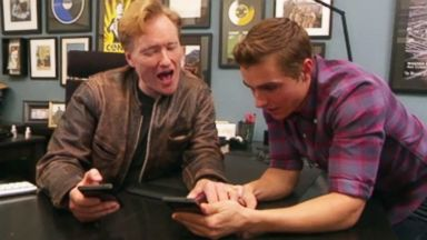 "PHOTO: Conan OBrien and Dave Franco create fake Tinder profiles on the July 17, 2014 episode of ""Conan."""