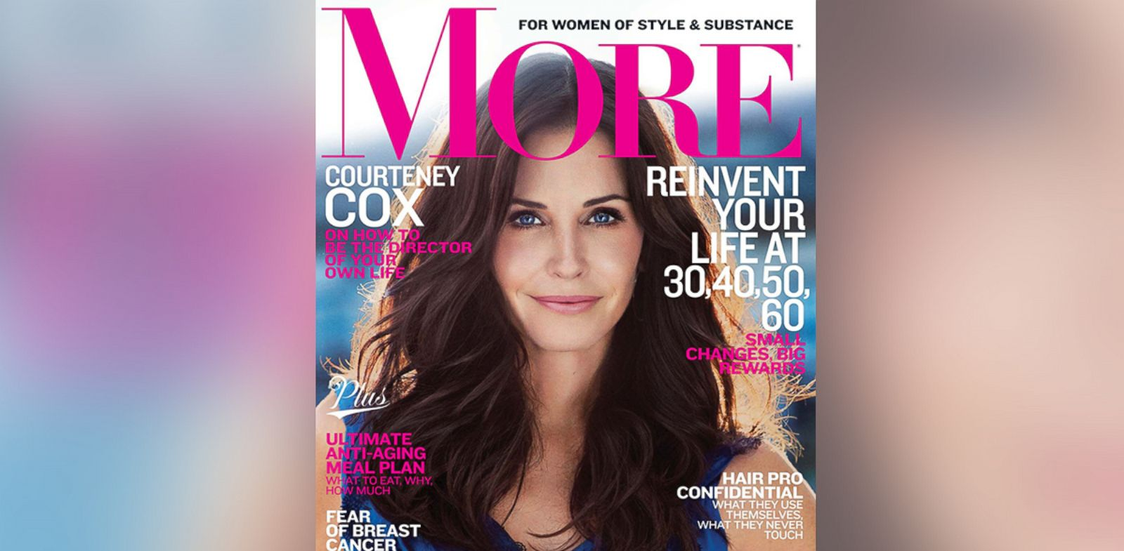 PHOTO: Courtney Cox on the cover of the Feb. 2014 issue of More Magazine.