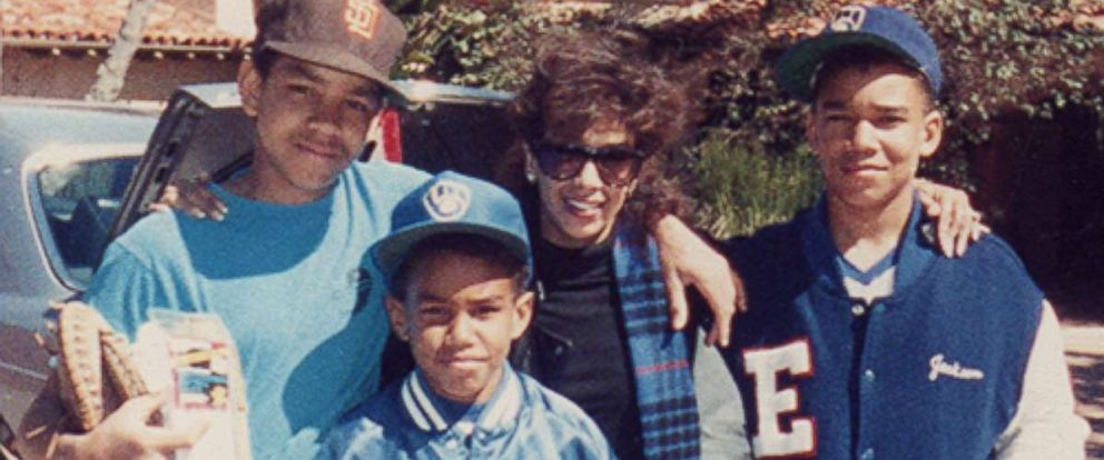 """Delores """"Dee Dee"""" Jackson (center) is seen here with her three sons, TJ, Taj and Taryll Jackson, in this undated family photo."""