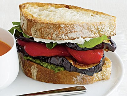 Cooking Light's eggplant and goat cheese sandwiches are shown here.