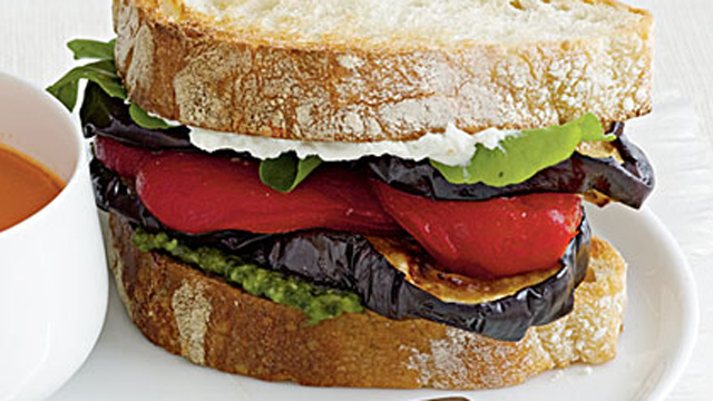 PHOTO: Cooking Light's eggplant and goat cheese sandwiches are shown here.