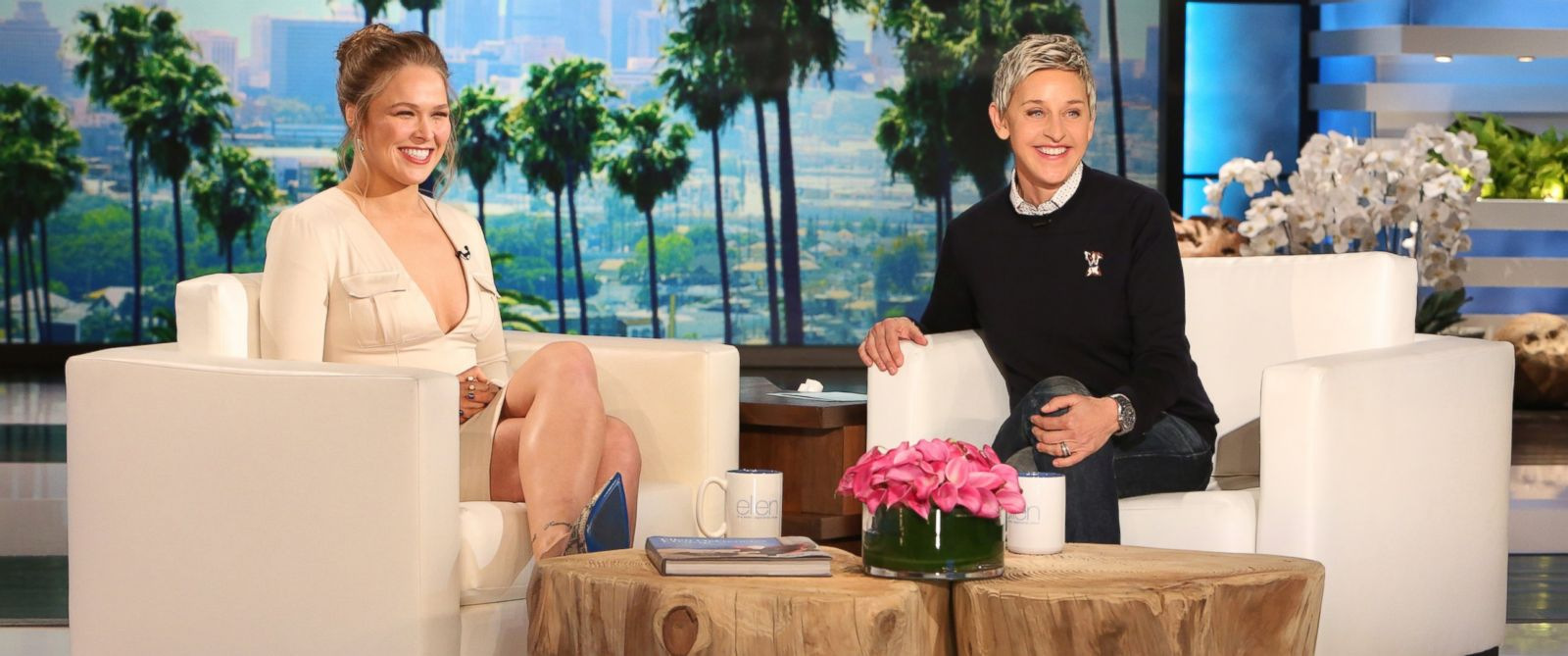 "PHOTO:UFC Fighter Ronda Rousey is seen with Ellen on ""The Ellen Degeneres Show,"" Feb. 16, 2016."