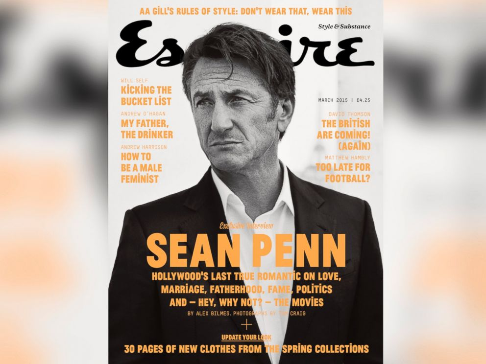 PHOTO: Sean Penn appears in the cover story of the March 2015 edition of Esquire Magazine in the U.K.