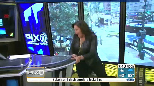 PHOTO: WPIX anchor Frances Rivera falling in her high heels on live television.