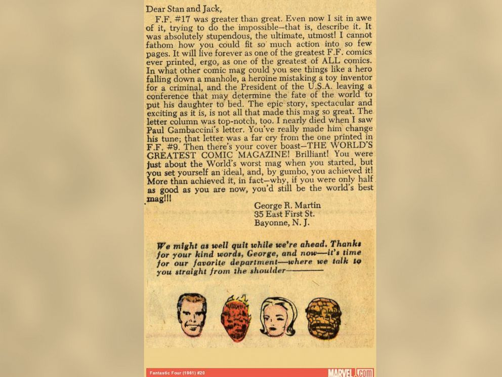 PHOTO: A letter from George R. R. Martin appeared in the 1961 edition of The Fantastic Four from Marvel.